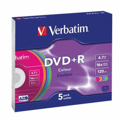 DVD+R lemez, színes felület, AZO, 4,7GB, 16x, vékony tok