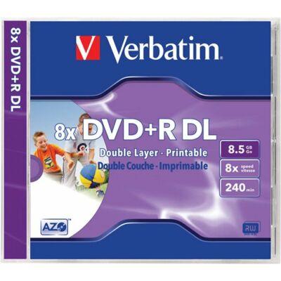 DVD+R lemez, kétrétegű, nyomtatható, no-ID, 8,5GB, 8x, normál tok