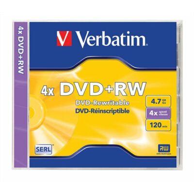 DVD+RW lemez, újraírható, 4,7GB, 4x, normál tok