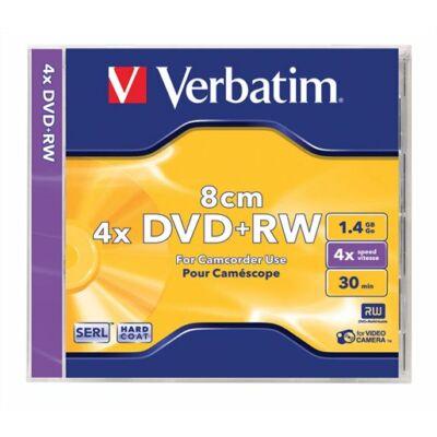 DVD+RW mini lemez, 8 cm, újraírható, 1,4GB, 4x, normál tok