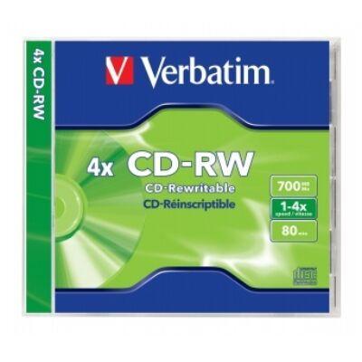 CD-RW lemez, újraírható, SERL, 700MB, 2-4x, normál tok, VERBATIM