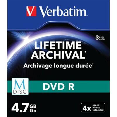 VERBATIM M-DISC archiváló DVD R lemez, 4,7 GB, 4x, vékony tok, 3db