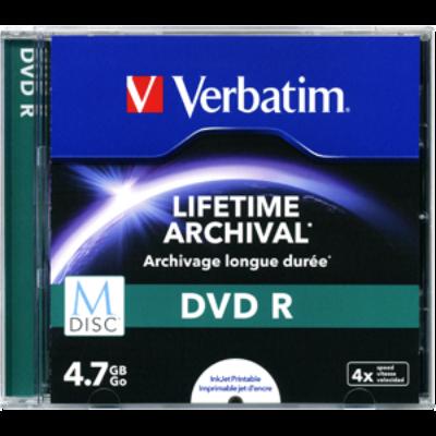 DVD R lemez, archiváló, nyomtatható, M-DISC, 4,7 GB, 4x, normál tok