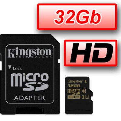 KINGSTON MEMÓRIAKÁRTYA MICROSDHC 32GB CLASS 10 UHS-I 45MB/S OLVASÁS + ADAPTER