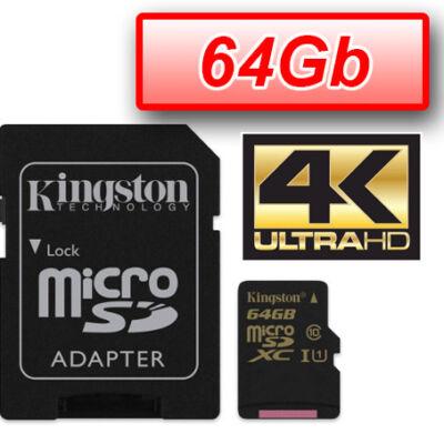 KINGSTON MEMÓRIAKÁRTYA MICROSDXC 64GB UHS-I CLASS 3 U3 (90/80) + ADAPTER