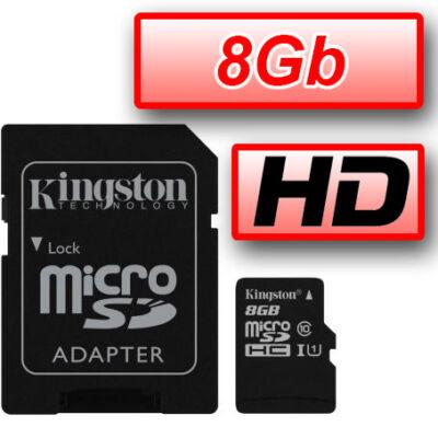 KINGSTON MEMÓRIAKÁRTYA MICROSDHC 8GB CLASS 10 UHS-I (90/45) + ADAPTER