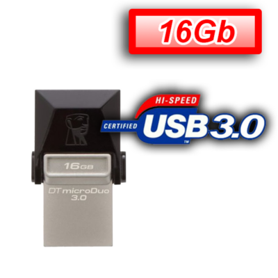 KINGSTON Pendrive 16GB, DT MicroDuo USB 3.0 micro USB OTG (70/10)